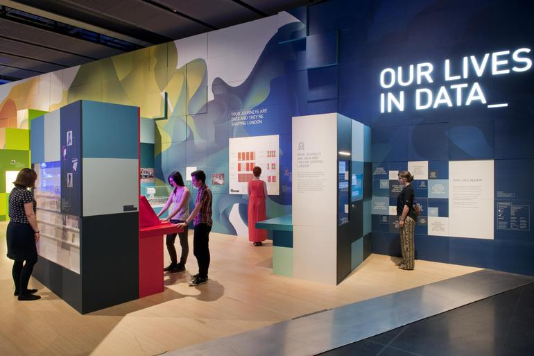 Gallery view of Our Lives in Data - an exhibition exploring how big data is transforming the world around us; uncovering some of the diverse ways our data is being collected, analysed and used.